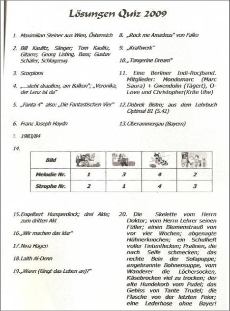 Lösungen Quiz 2009